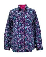 Grenouille Ladies Long Sleeve Navy, Cerise and Spearmint Flower Print Shirt